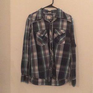Men's BKE plaid long sleeve button shirt medium